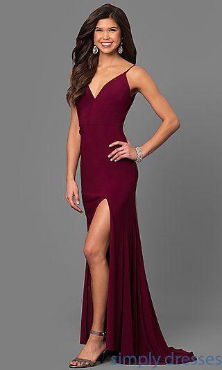 DMO-J315996 - Wine Red V-Neck Long Prom Dress with Side Slit