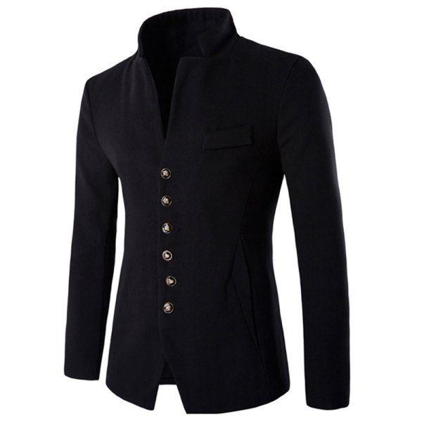 Single-Breasted Stand Collar Slimming Woolen Blazer