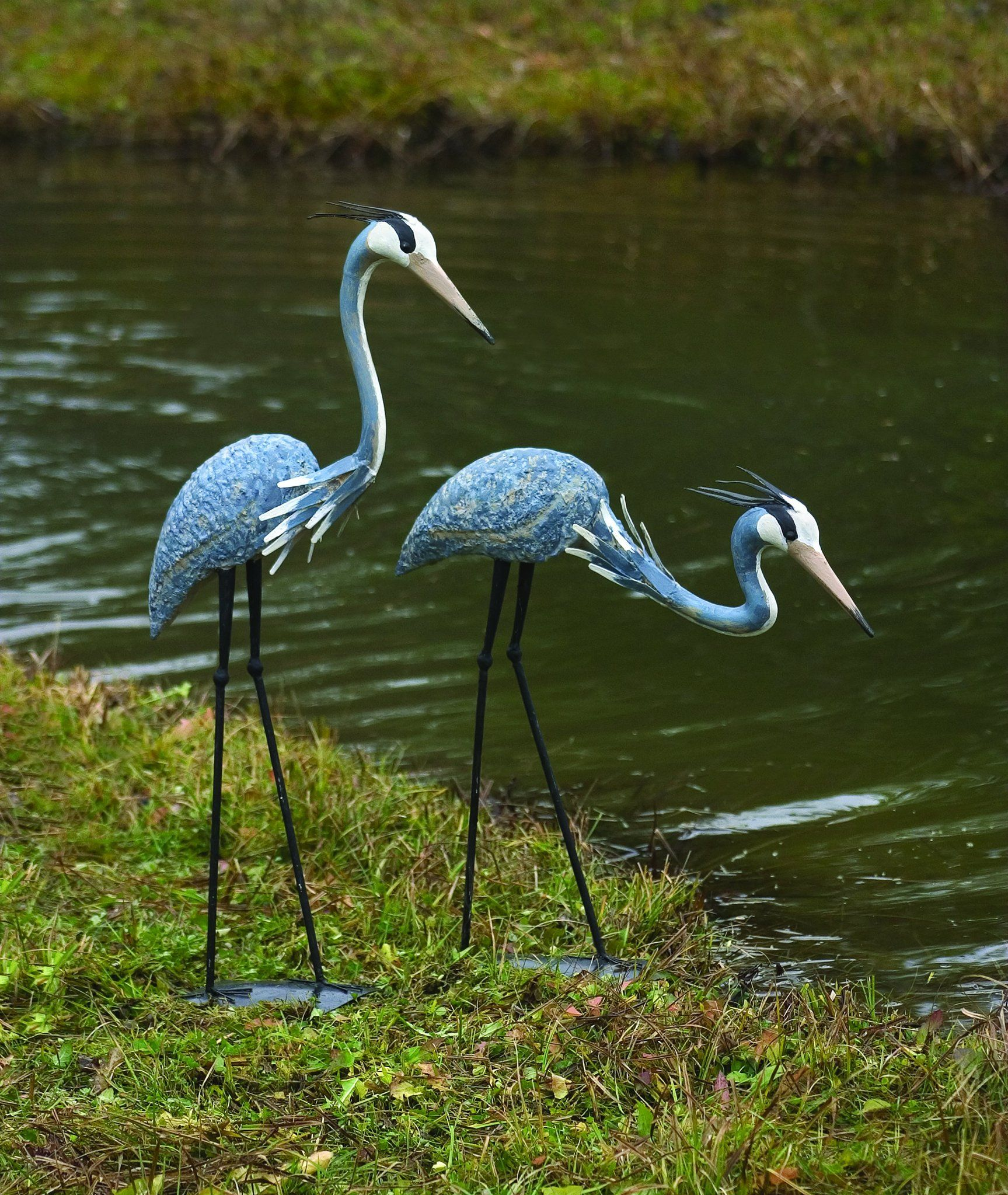 Heron Pair; 1 Standing and 1 Bowing This whimsical pair of birds ...