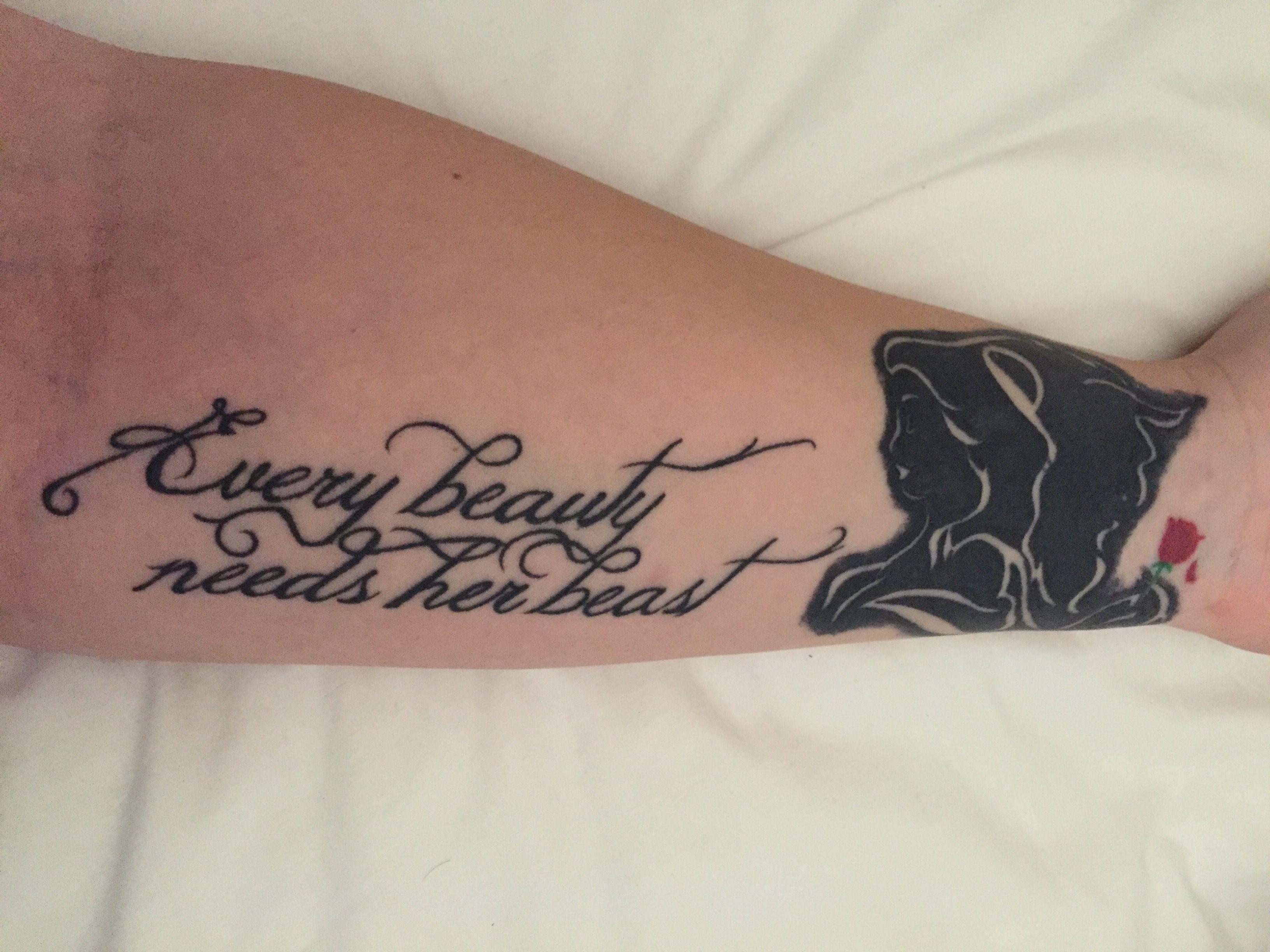 Beauty And The Beast Tattoo. Every Beauty Needs Her Beast