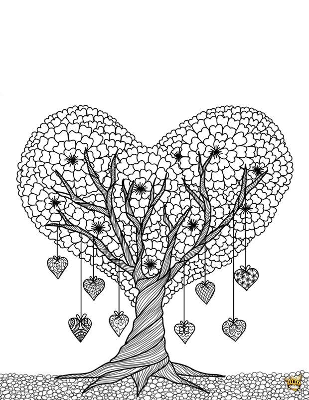 Coloriage arbre coeur pour adultes fleurs coloriage coloriage arbre et coloriage coeur - Dessin de coeur a colorier ...