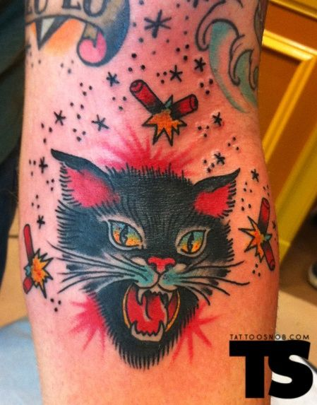 American Traditional Cat Tattoo : american, traditional, tattoo, Tattoo, Traditional, American, Black, Tattoos,, Kitten