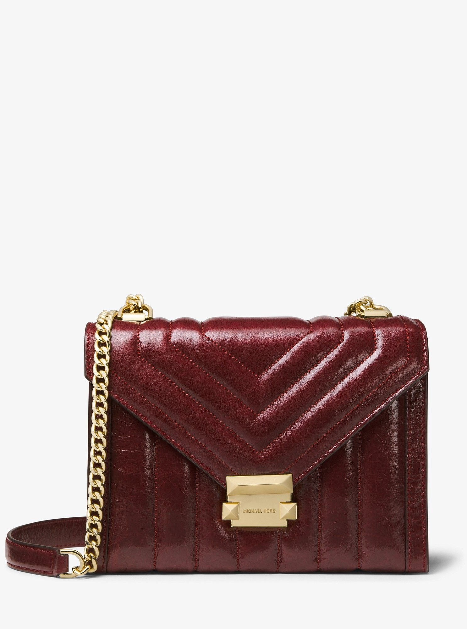 f17112fea2b8 Michael Kors Whitney Large Quilted Leather Convertible Shoulder Bag -  Oxblood