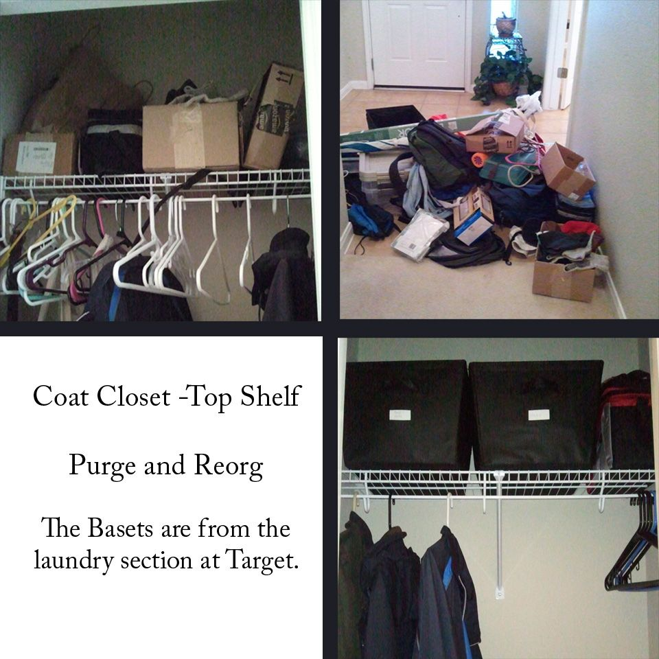Purged and reorganized the coat closet.  Here's the before, during and after for the top shelf.