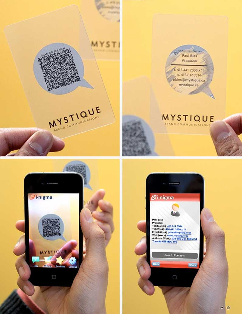 transparent business card with scan or scratch option | (not ...