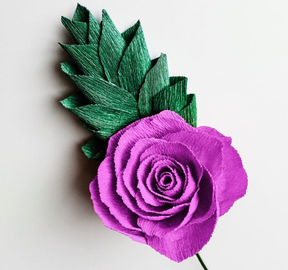 Crepe Paper Rose with Greenery Paper Flower by APaperEvent on Etsy