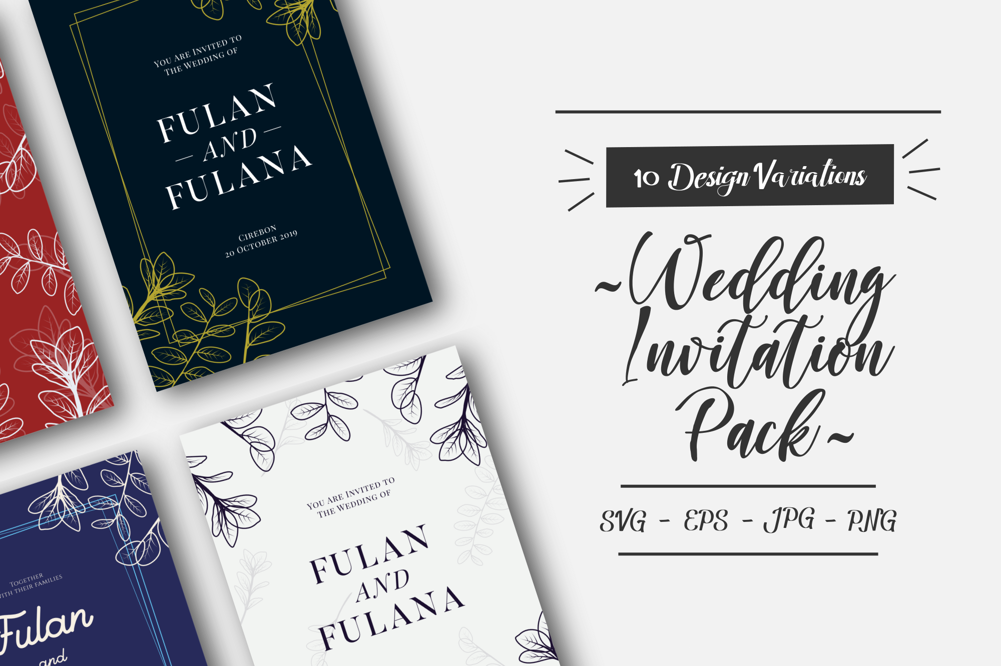 Hand Drawn Foral Wedding Invitation Pack Graphic By 1211 Design Creative Fabrica