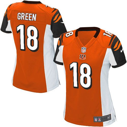 bfac9d17 Nike NFL Elite Womens Cincinnati Bengals Orange #18 A.J. Green ...
