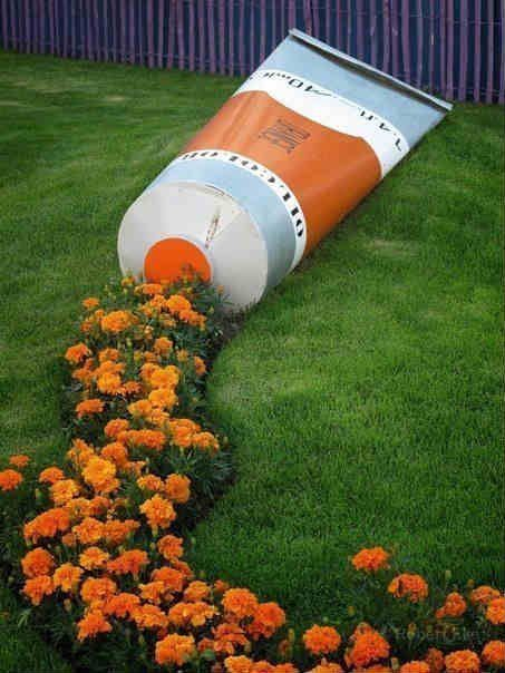 Garden decoration ideas Creative garden decoration tooth paste