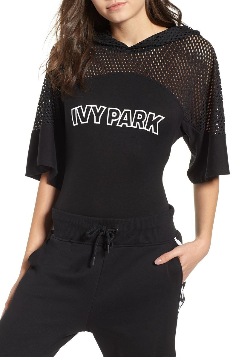 Free shipping and returns on IVY PARK® Mesh Panel Hoodie Bodysuit at  Nordstrom.com. Bodysuit styling ensures this piece will stay right where it  needs to ... 06a894b2e