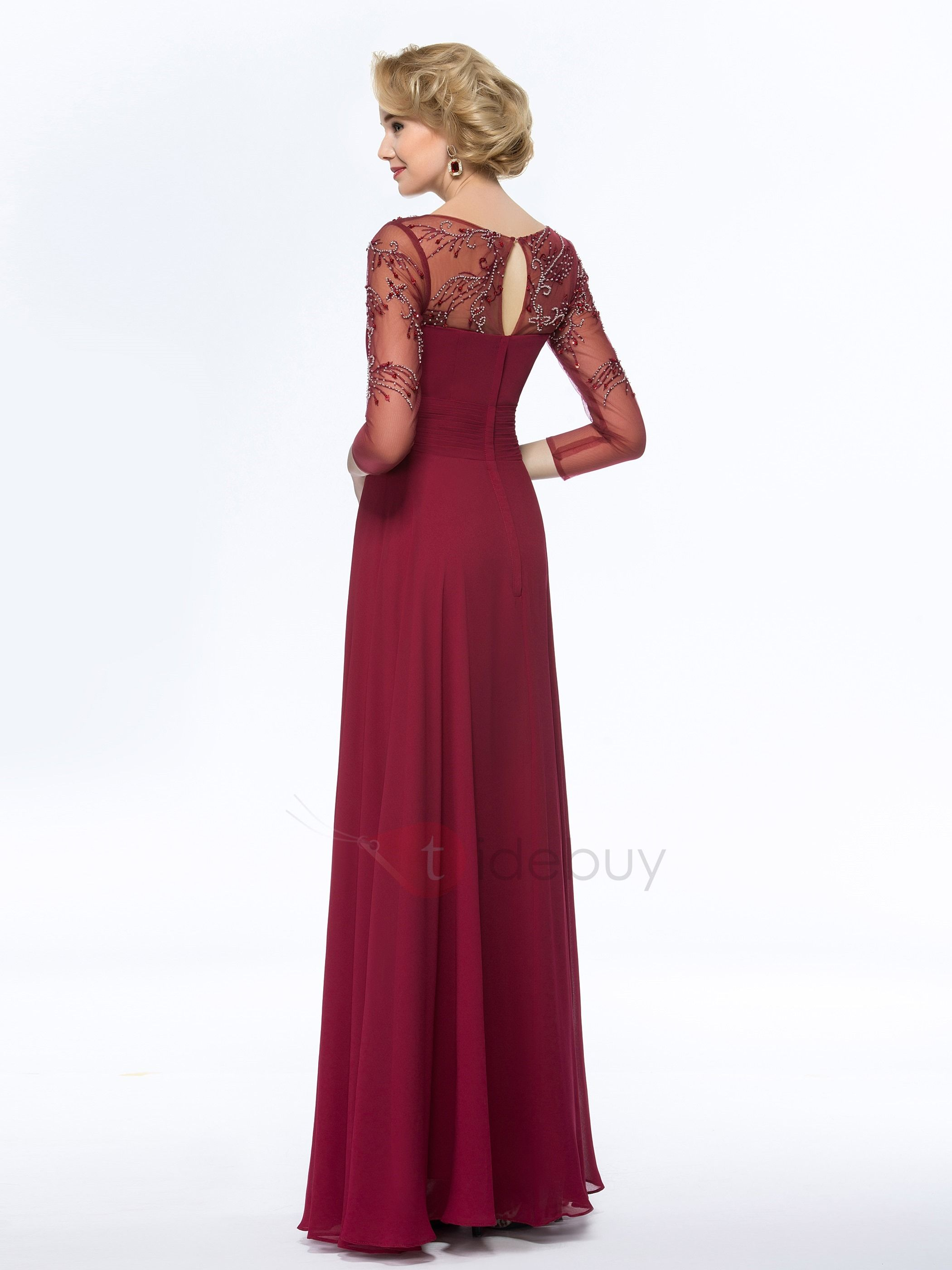 704396cac50 Tidebuy.com Offers High Quality Bateau Neck Beaded Long Mother Dress with  Sleeves