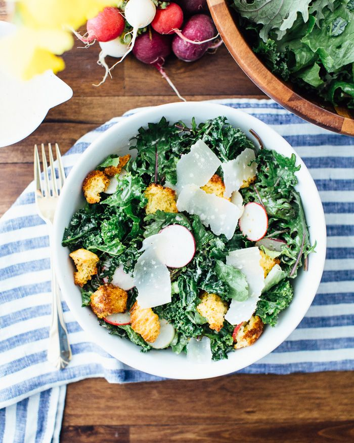 Kale Caesar Salad with Crispy Cornbread Bits from Sprouted Kitchen's Bowl and Spoon | A Couple Cooks