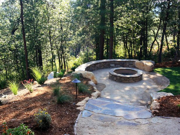 Amazing Rustic Outdoor Natural Stones Fireplaces And Fire Pits Ideas Be Equipped Semicircle Stony Garden Bench With Pit Bowls Also