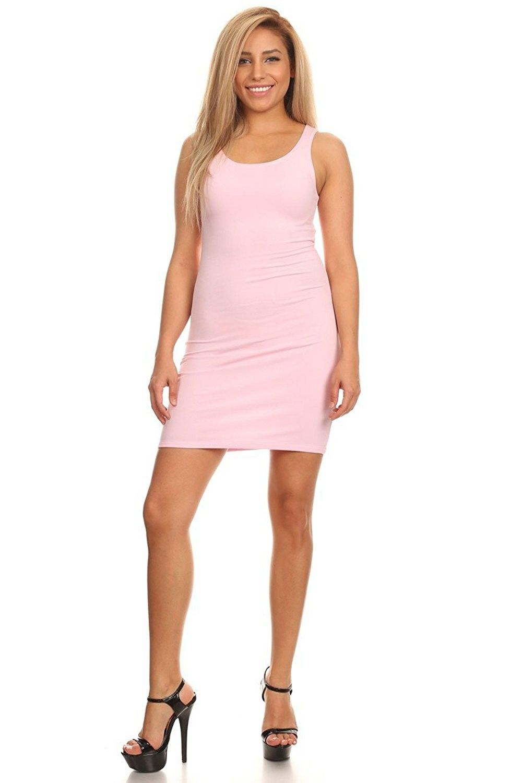 2a4a62a9bbc Women Bodycon Stretch Basic Party Dress - Pink - CJ12HXX5KYT ...