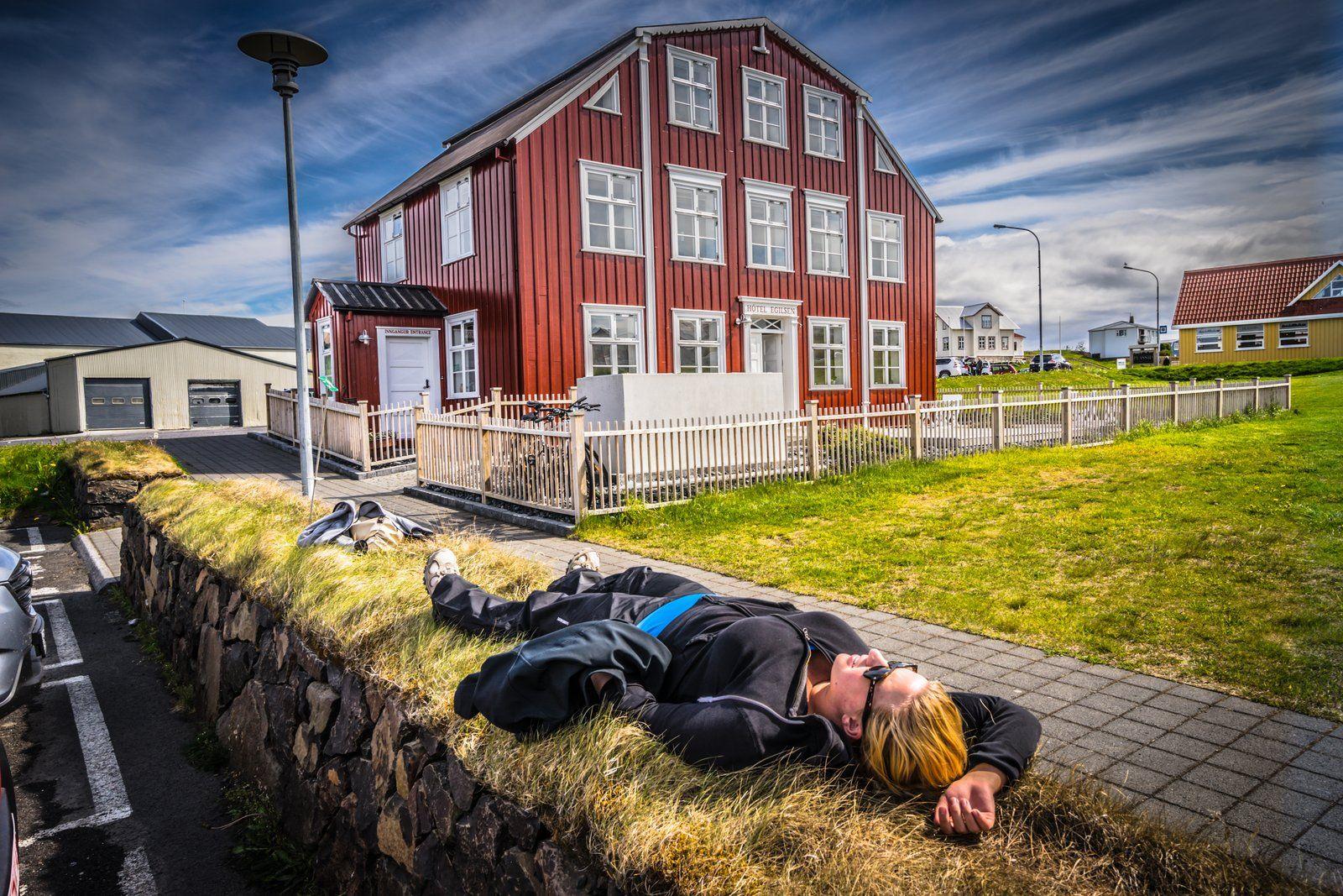 Relaxing Outside Stykkisholmur S Hotel Egilson On The Snæfellsnes Peninsula In West Iceland