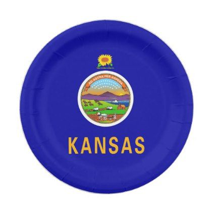 Patriotic paper plate with flag of Kansas  sc 1 st  Pinterest & Patriotic paper plate with flag of Kansas - cheap gifts diy cyo ...
