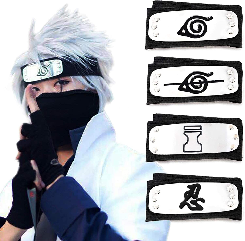 Unisex Long Ninja Robe Akatsuki Cloak Halloween Costume with Naruto Headband,Plastic Minato Kunai, Ring ,Necklack