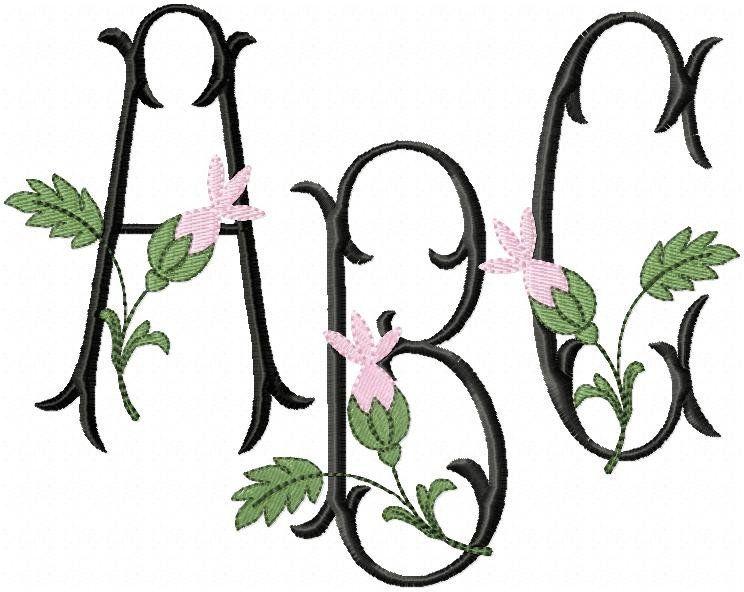 Rosebud Monogram Font Machine Embroidery Design Monogram Font