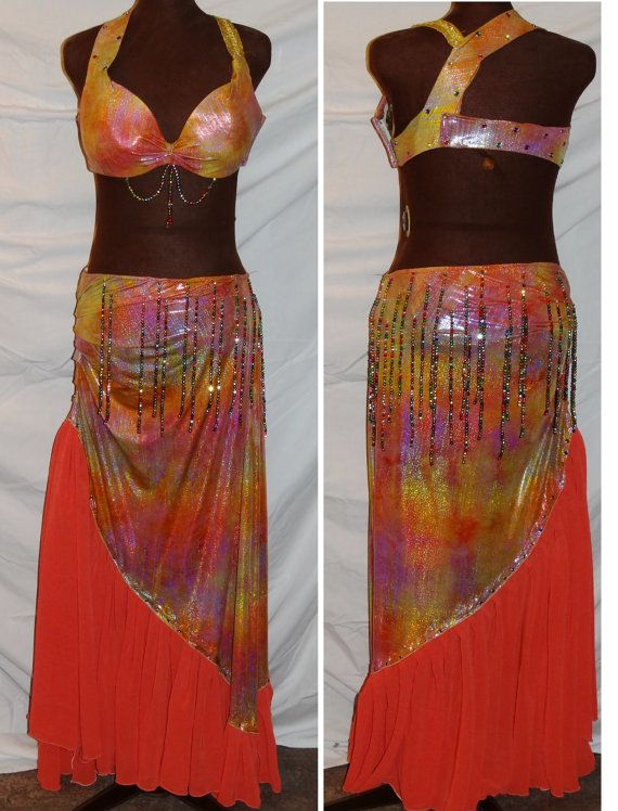 Unique Cabaret Style belly dance skirt and top by CustomNotCostume