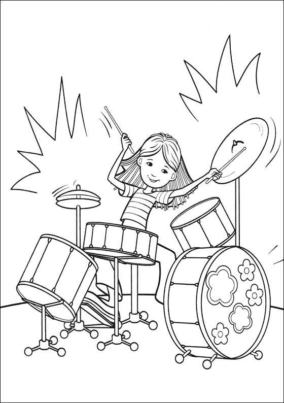 Groovy Girls Play Drum Coloring Pages Con Imagenes Paginas