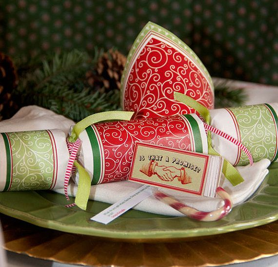 Christmas party cracker  Red Curly Cues by PIMLOTTco on Etsy, $5.25
