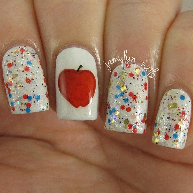 Apple Nail Art Inspired By Snow White Disney Inspired Nails And