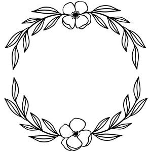 Silhouette Design Store laurel wreath flowers and