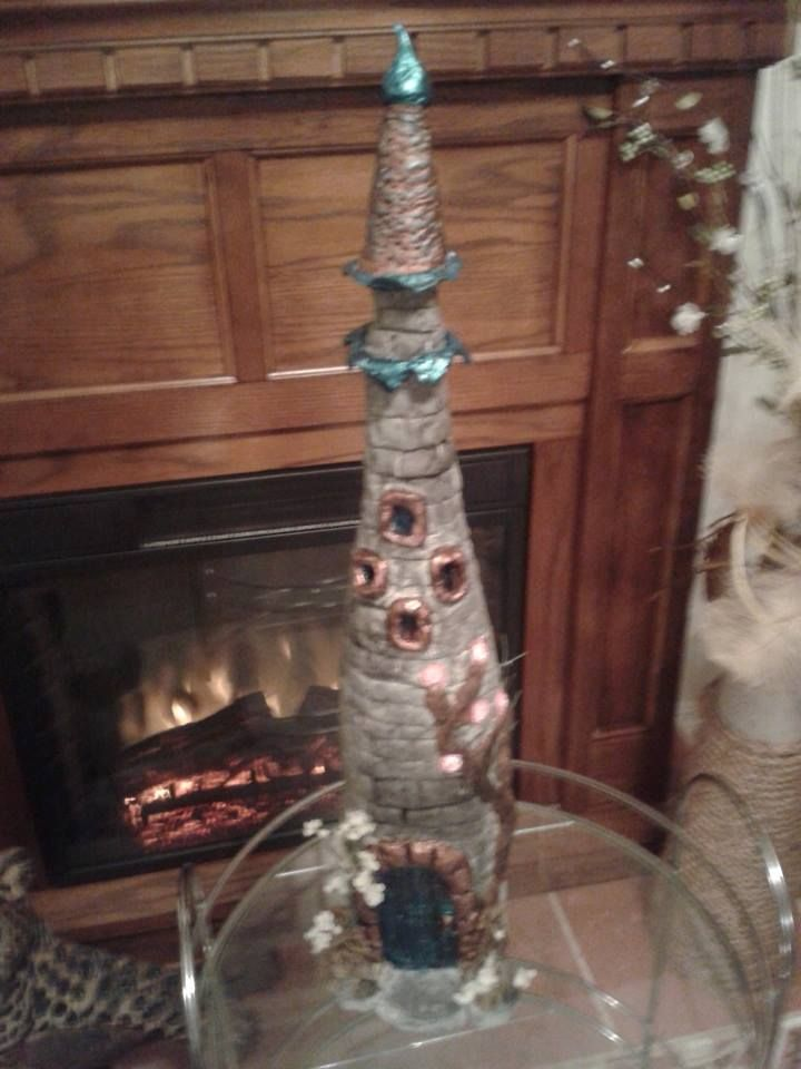 Toilet Paper Clay Fairy House Made From A Wine Bottle Base And