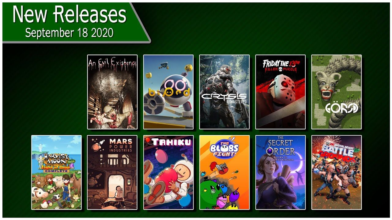 Xbox One New Releases for Friday September 18th 2020 in