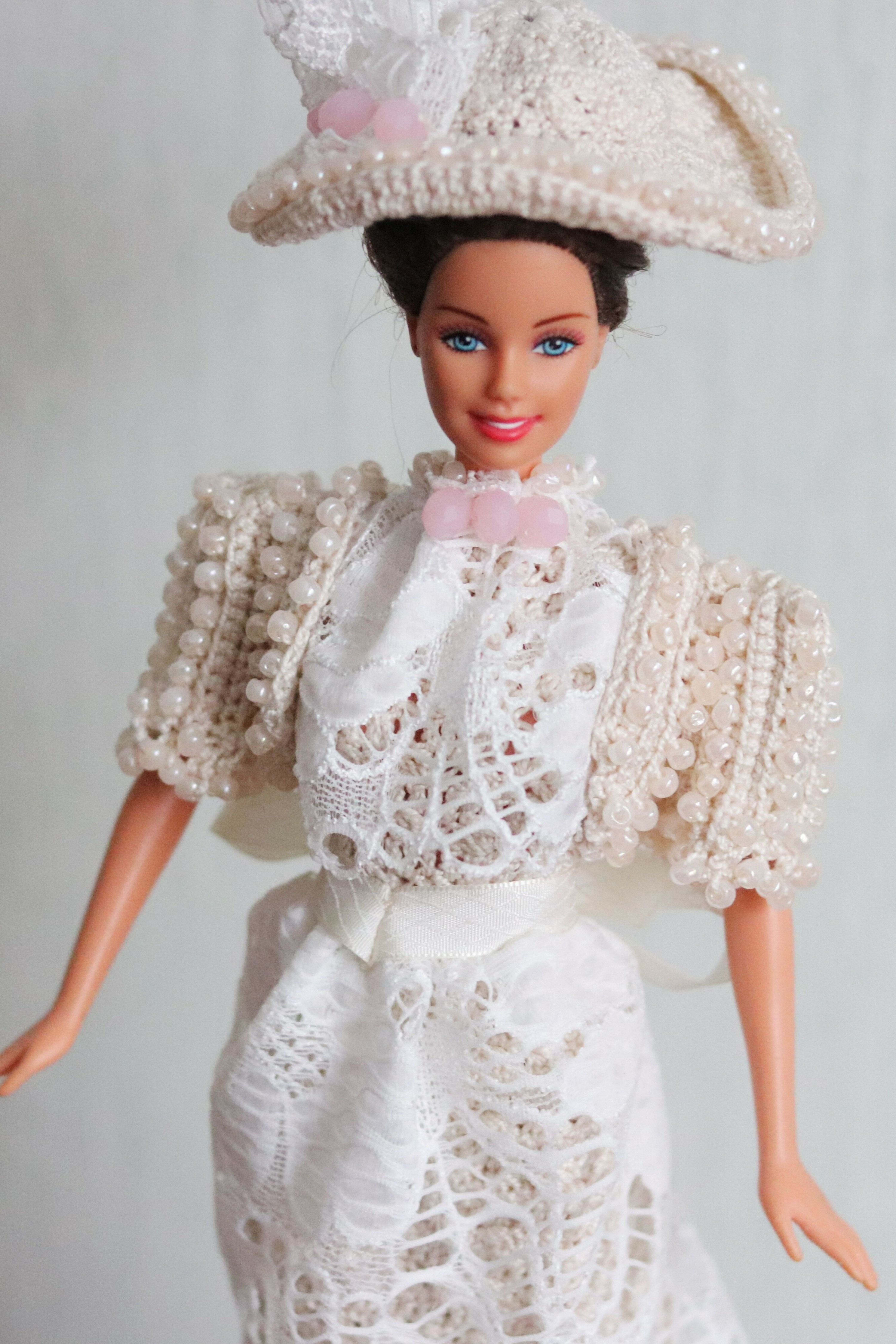 Crochet victorian doll dress with lace  #historicaldollclothes