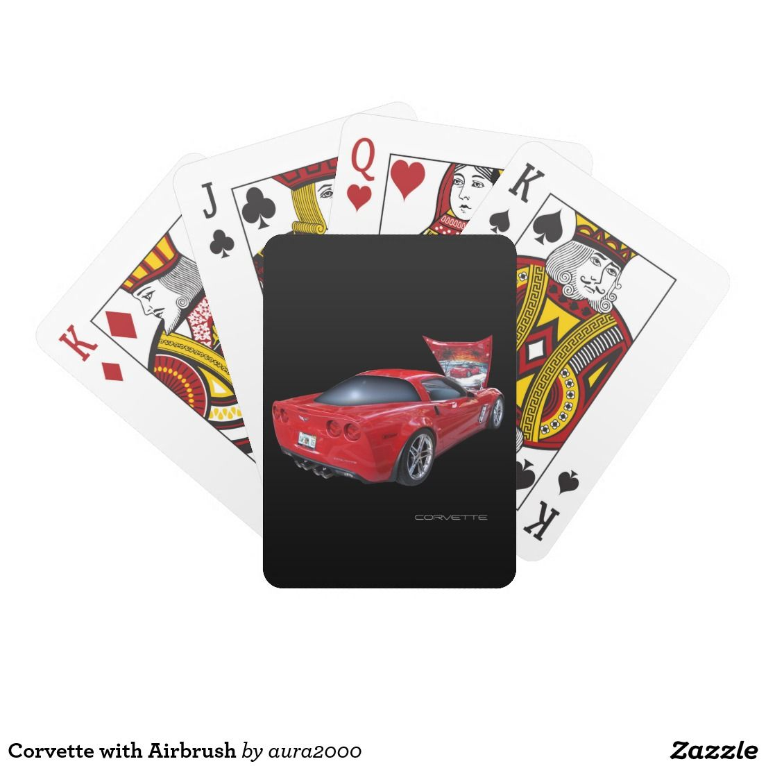 Corvette With Airbrush Playing Cards Zazzle Com Playing Cards