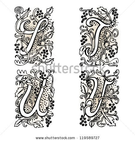 Hand Drawn Artistic Vector Fairytale Letters S T U