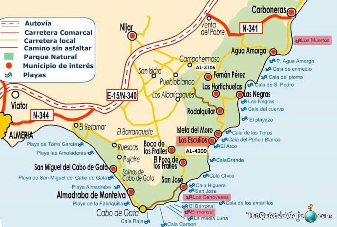 Cabo De Gata Map Cabo De Gata Cabo De Gata Almeria Almería