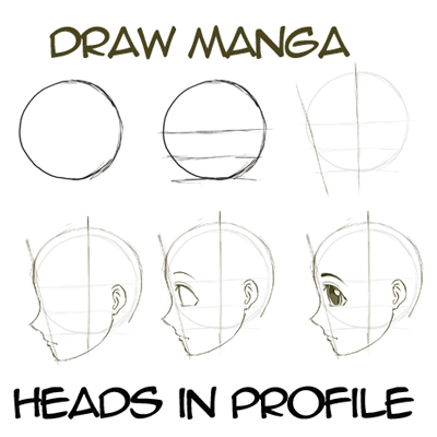 How To Draw Anime Manga Faces Heads In Profile Side View How To Draw Step By Step Drawing Tutorials Anime Drawings Drawing Tutorial Manga Drawing