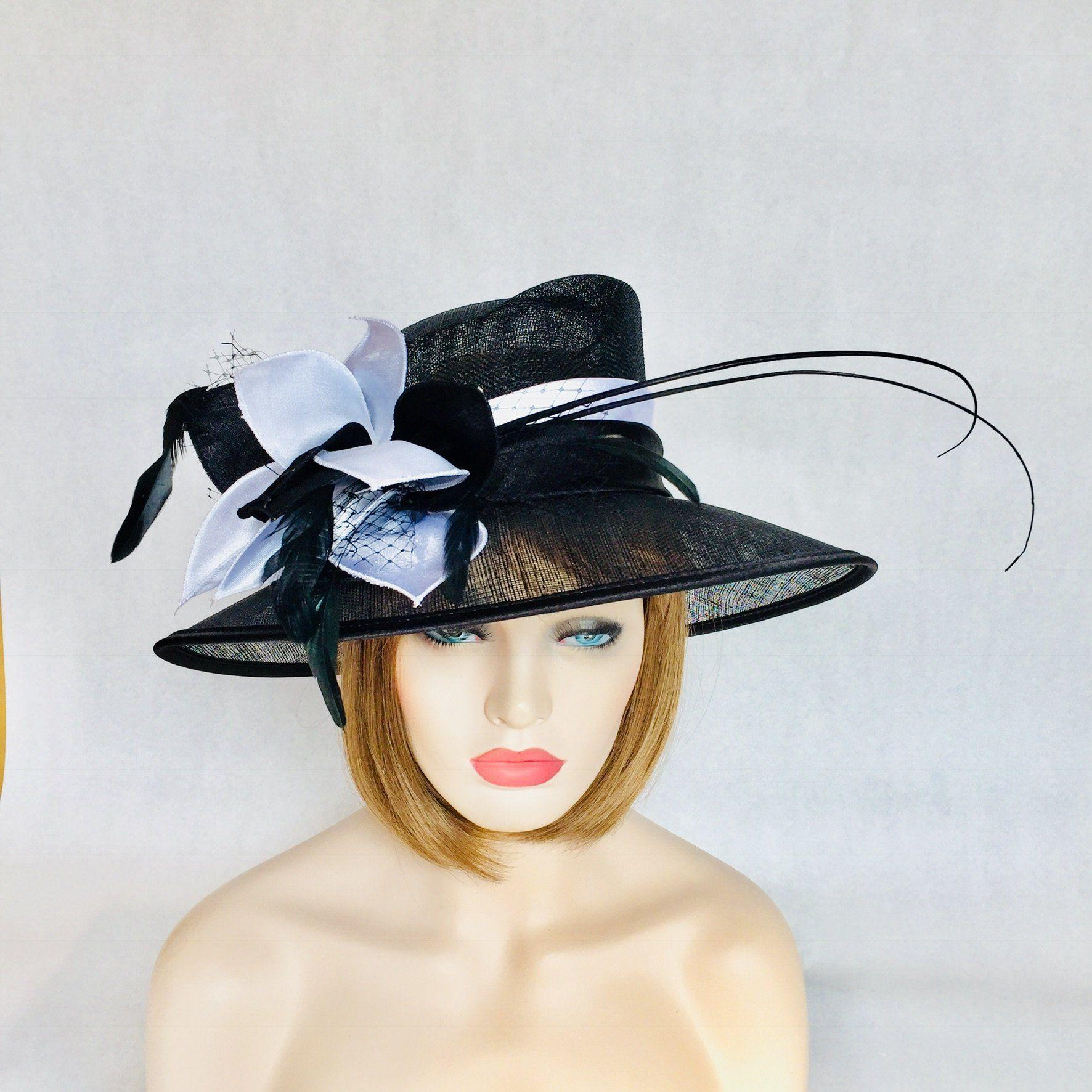 29fc98b6ccb312 Lady Jewel Black and White Tea Hats, Kentucky Derby Hats, Wedding Hats,  Captain
