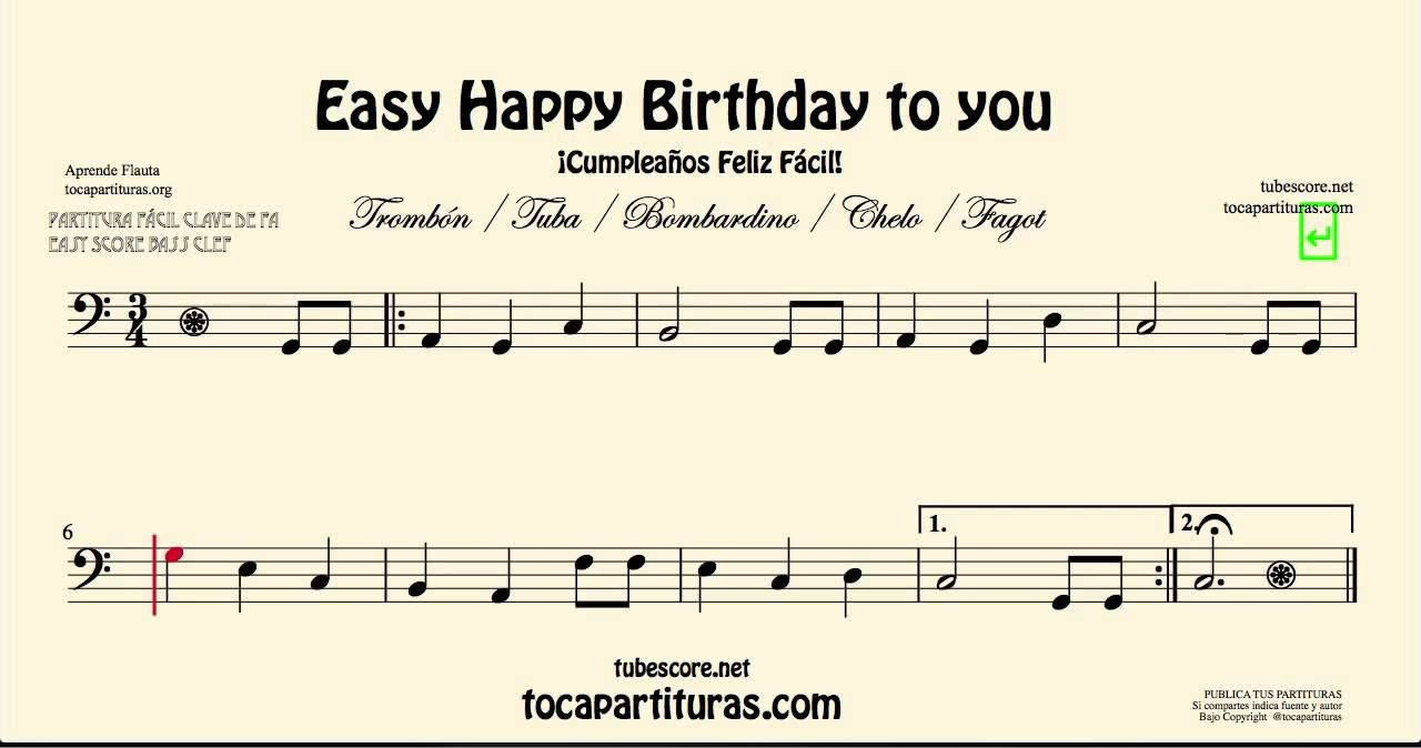 Happy Birthday To You Easy Sheet Music For Trombone Cello Tuba