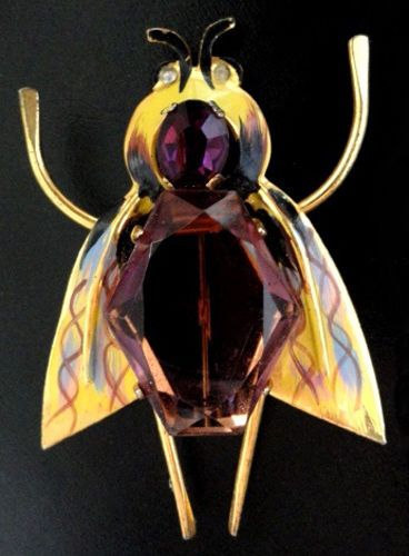 Huge-Early-CORO-Sterling-Enamel-Insect-Pin-Book-Pc-Amethyst-Glass-Retail-225