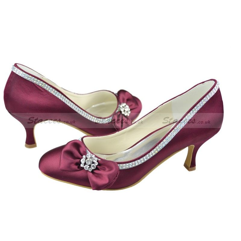 3fb82ff9b0d Close Toe Kitten Heel Pumps Burgundy Satin with Bowknot Bridal Shoes  (1080026)