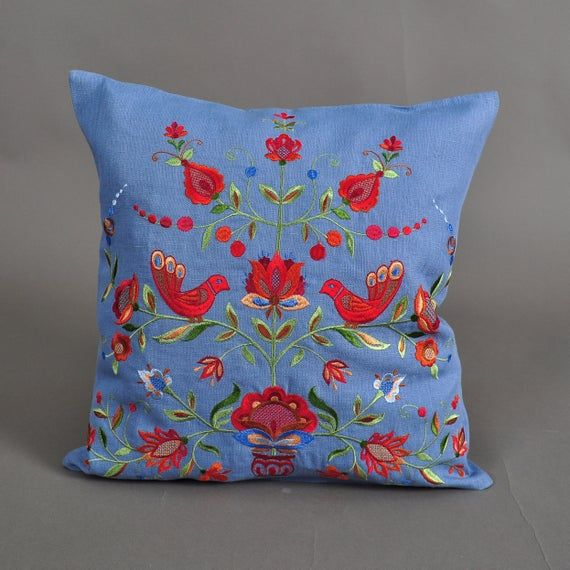 Embroidered Pillowcase 40*40 СМ, Linen pillowcase,Floral Home Decor Organic pillowcase Bright embroi