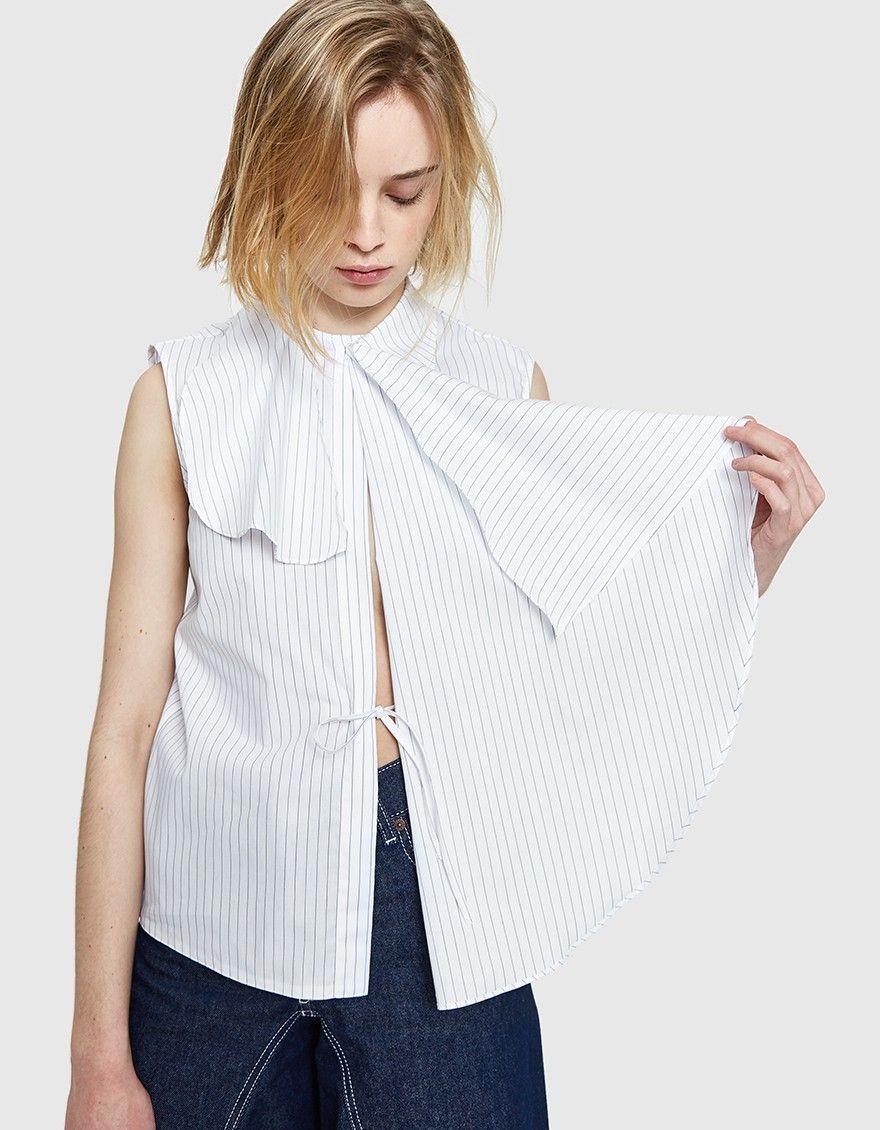 6d66cf19173 MM6 Maison Margiela / Cotton Stripe Shirt in White | Just in : Women ...
