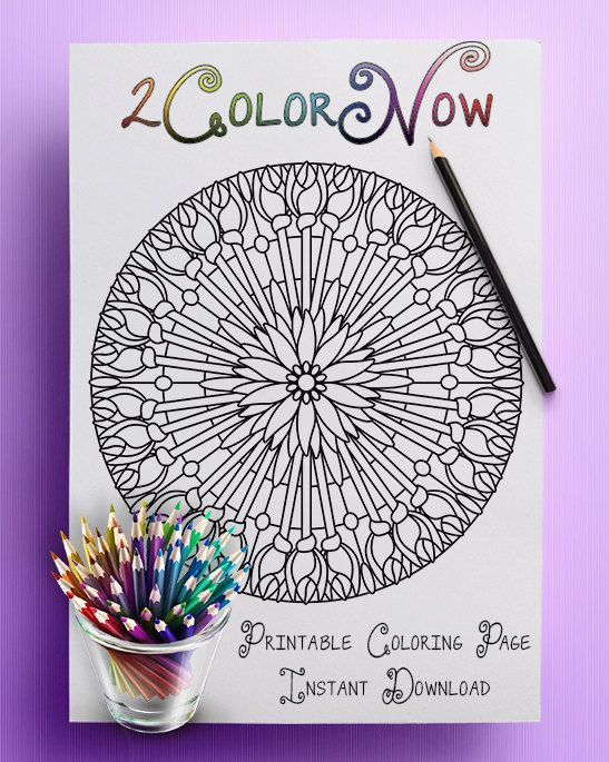 Floral Torch Adult Coloring Page Complex Mandala Relax Stree