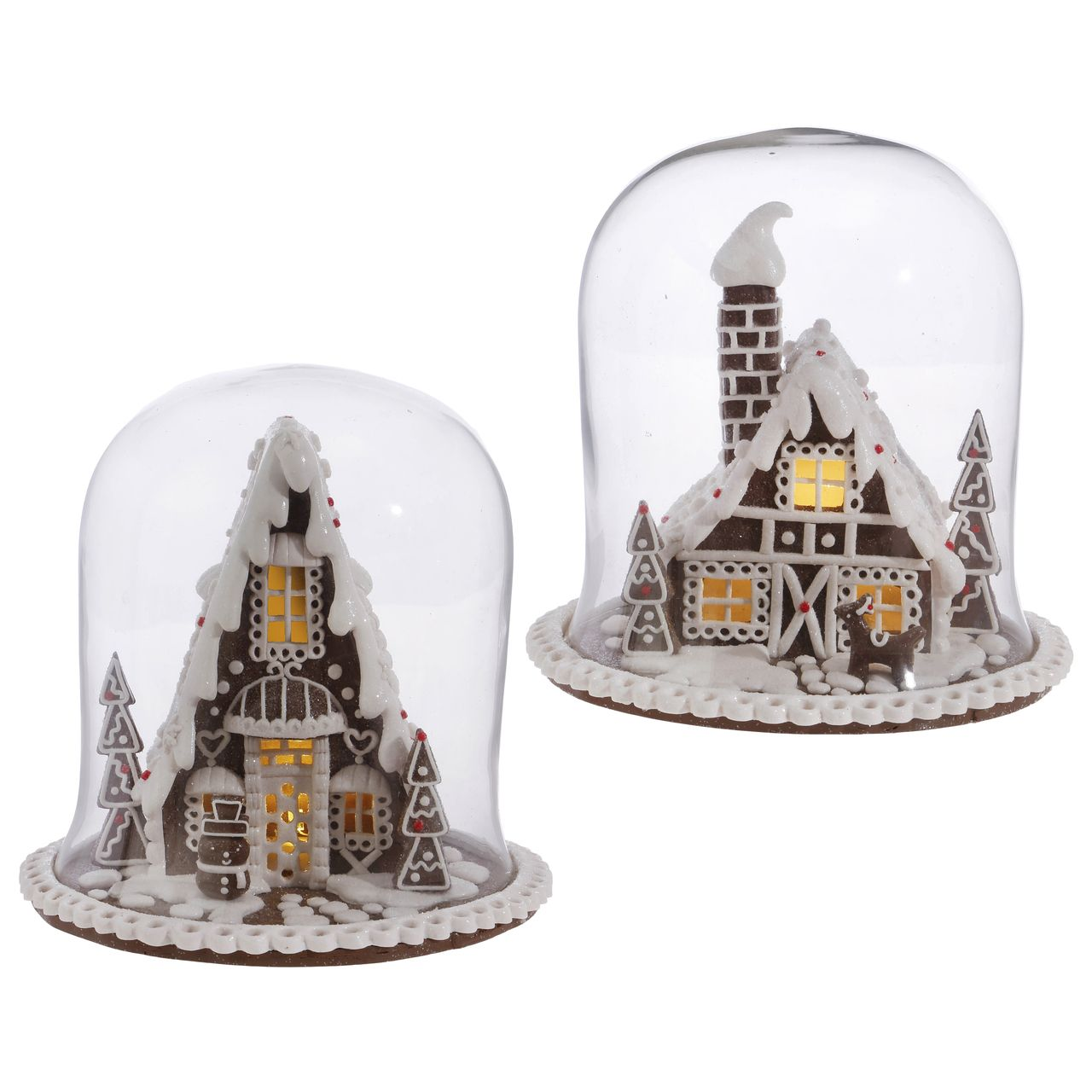 Large Selection Of Raz Imports Decorations Ornaments And: Gingerbread House Under Dome. Christmas Table Top