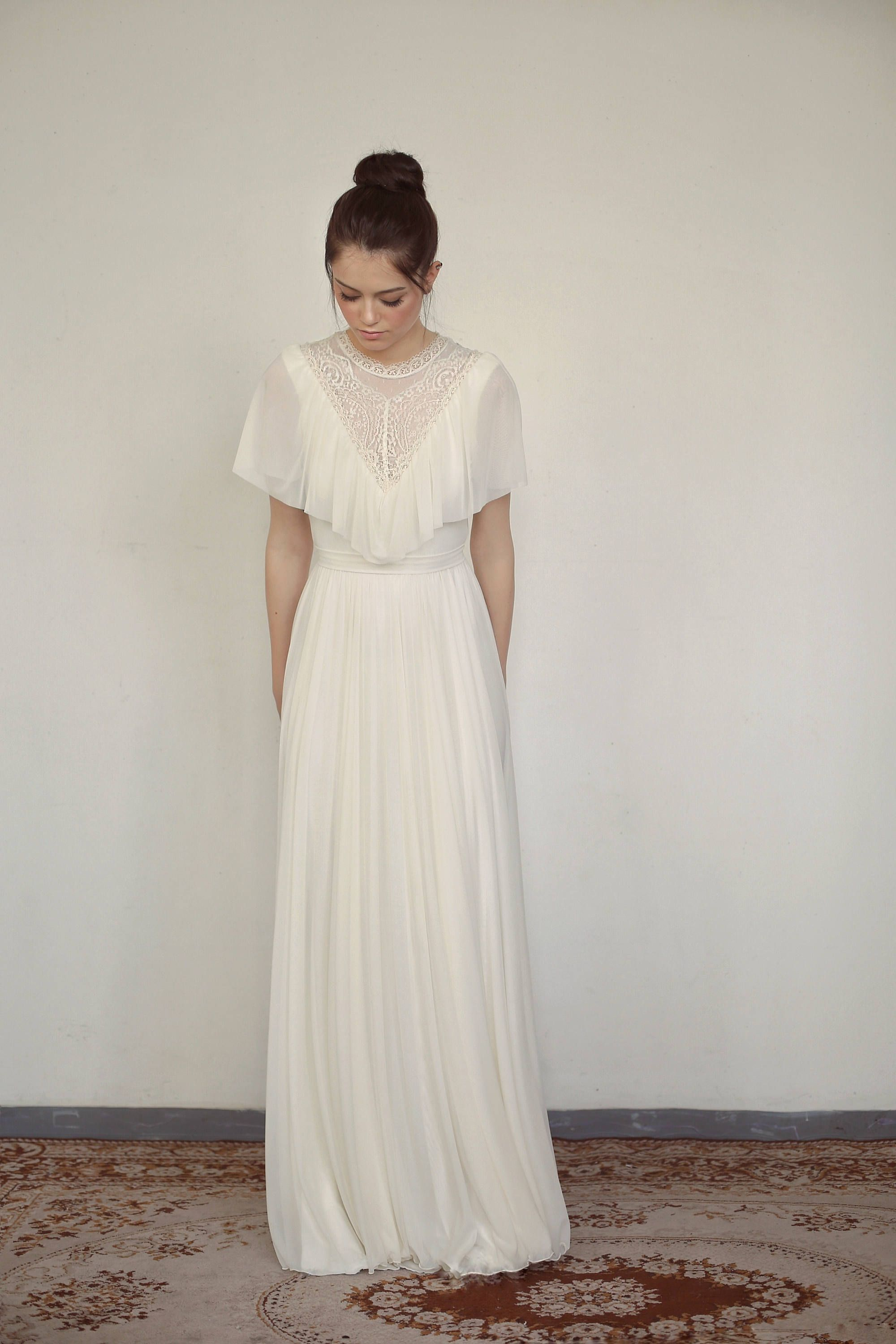 Modest wedding dress ivory wedding dress high neck wedding dress