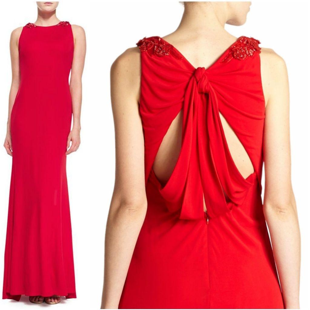Badgley Mishka 3d Floral Beaded-Shoulder Gown