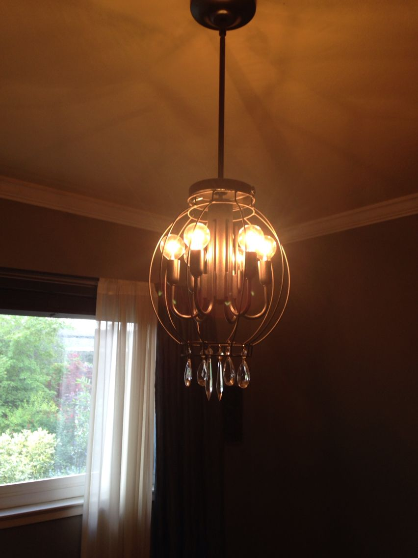 My Orb Chandelier Got The Lamp Free On Craigslist Wire Cage At Home Goods For 14 99 Can Of Oil Rubbed Bronze Orb Chandelier Chandelier Cheap Pendant Lights
