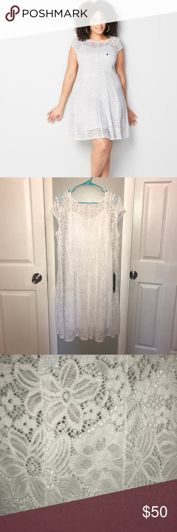 74358fa2b6 White Lace Fit   Flare Dress - Size 18 20 Lace dress with cap sleeves with  a fit and flare finish. • Plus size dress. • Scoop neckline. • Short cap  sleeves.