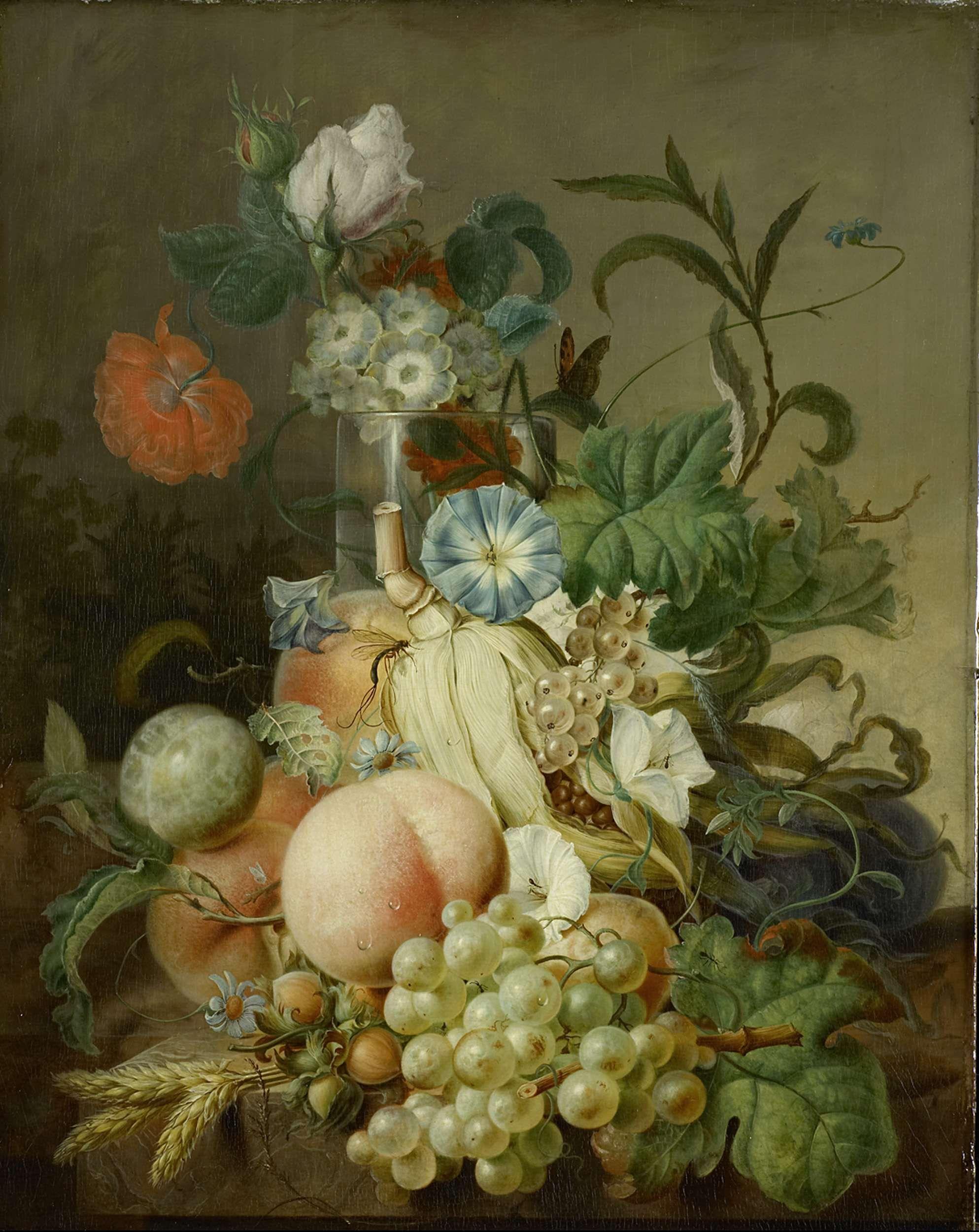 Stilleven met bloemen en fruit, Jan Evert Morel (I), 1800 - 1808 ...