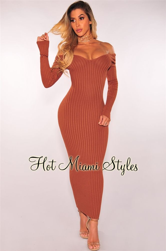 076b03d0d4c Caramel Ribbed Knit Long Sleeves Dress   Hot Miami Styles