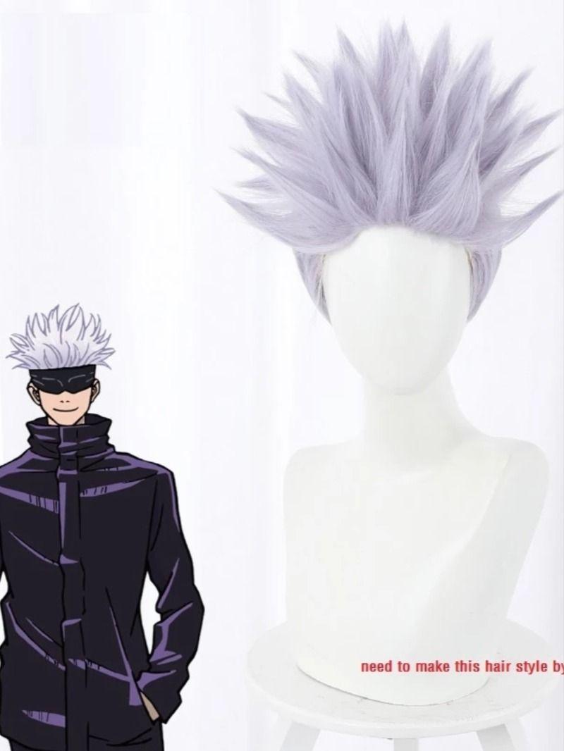 Anime Jujutsu Kaisen Cosplay Satoru Gojou Wig Light Purple Hair Takerlama Light Purple Hair Purple Hair Anime