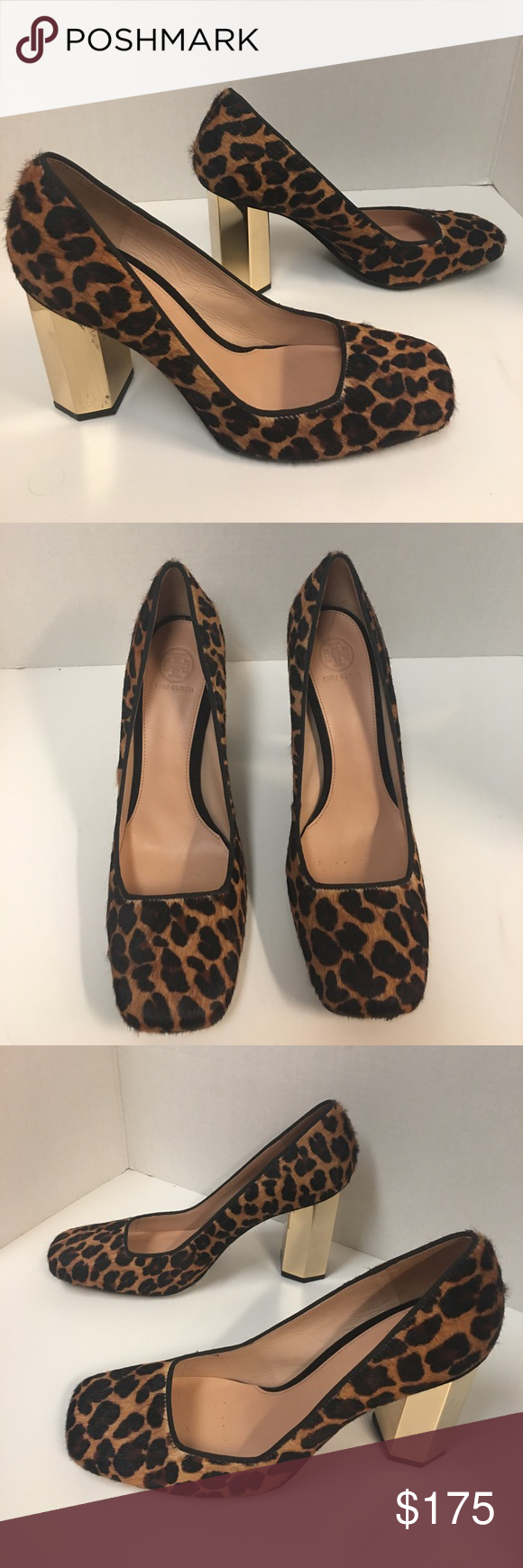 New Tory Burch regina calf hair animal print pumps